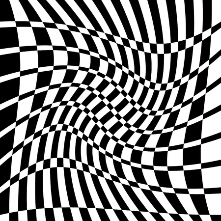 Distorted chequered (checkered) pattern with rectangles and squares