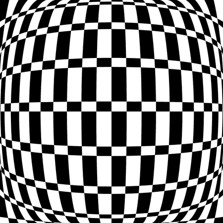hypnotism: Distorted chequered (checkered) pattern with rectangles and squares