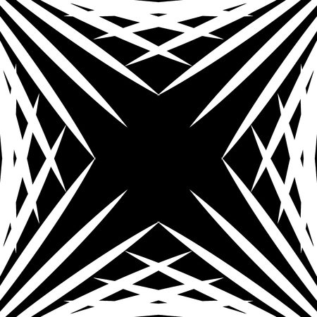 Squarish geometric graphic made of pointed lines. Edgy geometric pattern of random intersecting straight lines. Illustration