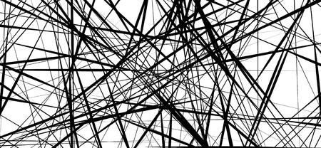 Lignes chaotiques aléatoires abstrait motif géométrique / texture. Illustration d'art moderne et contemporain