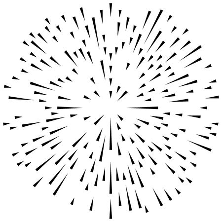 Random radial lines explosion effect. Radiating stripes circular pattern Illustration