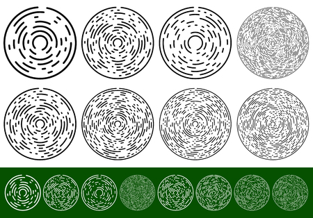 Set concentric, circular elements with dashed lines Vector Illustration