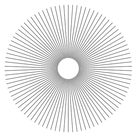 Radial lines abstract geometric element. Spokes, radiating stripes. Ilustrace