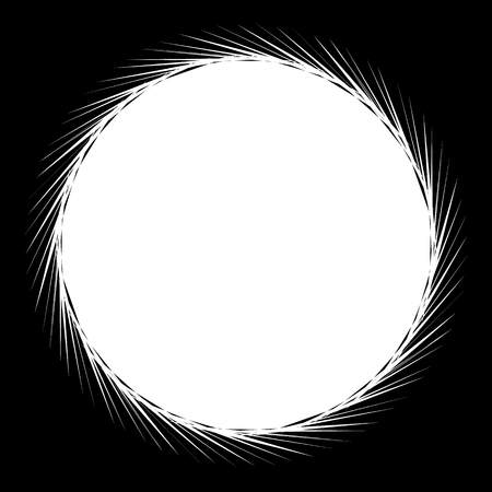 inverse: Circular geometric black and white element. Radial shape with spinning effect