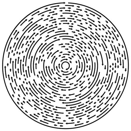 cíclico: Circular concentric arrows. Cyclic, cycle arrows. Arrow element to illustrate Ripple, swirl, twirl concepts