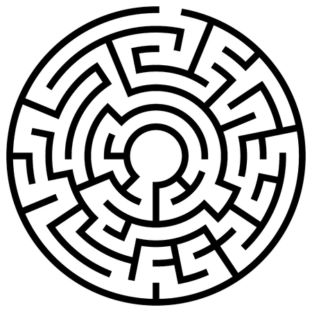Solvable circular maze element isolated on white Stock Illustratie