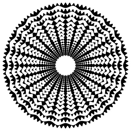 Radiating  radial abstract circular geometric element. Abstract black and white shape