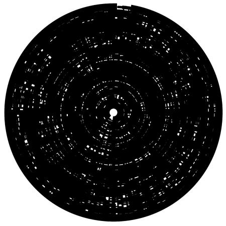Geometric monochrome illustration of radial, radiating random shapes. Abstract geometry Illustration