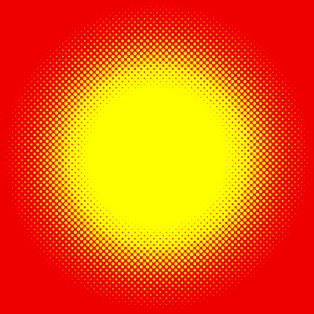 flecks: Popart, halftone pattern, background. Yellow and red, duotone backdrop Illustration