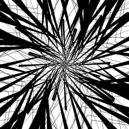 asymmetrical: Random monochrome glitchy, rough texture, pattern. Geometric chaotic illustration