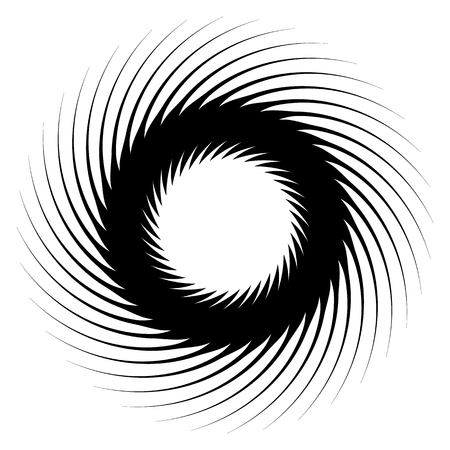 curl whirlpool: Abstract geometric spiral, ripple element with circular, concentric lines. Abstract monochrome element Illustration