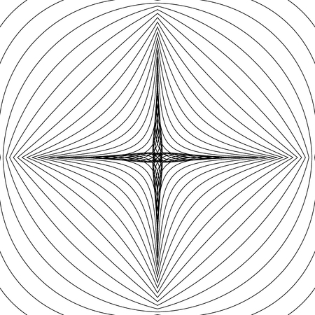 camber: Radial lines with deformation effect. Radiating distorted mesh, grid