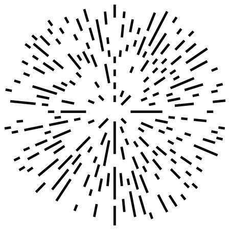 spoke: Random radial lines explosion effect. Radiating stripes circular pattern Illustration