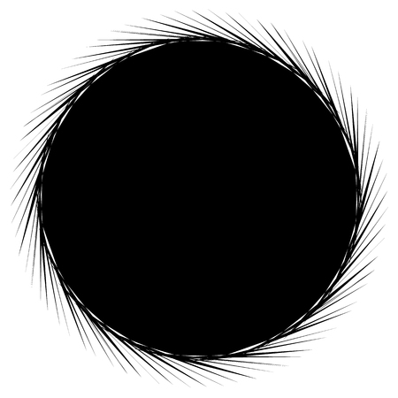 Circular geometric black and white element. Radial shape with spinning effect