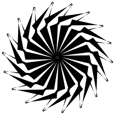 interlace: Abstract circular geometric element with radial lines. Distorted radiating abstract shape. Monochrome decorative element