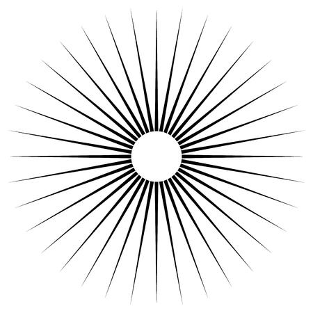 Radial lines abstract geometric element. Spokes, radiating stripes. 일러스트