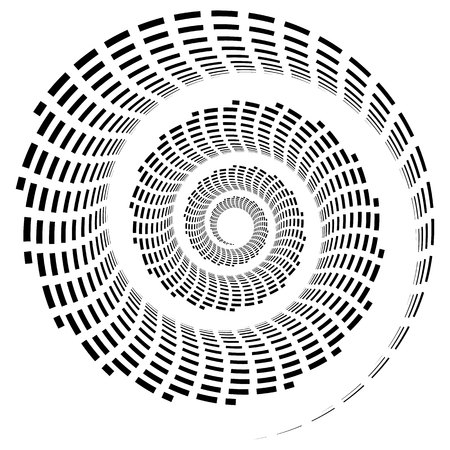 Abstract geometric spiral, ripple element with circular, concentric lines. Abstract monochrome element Illustration