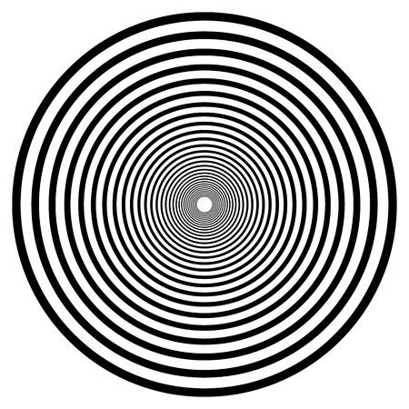 espiral geométrico abstracto, elemento ondulación con líneas circulares, concéntricos. elemento abstracto en blanco y negro Vectores