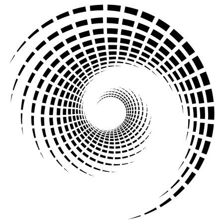 cíclico: espiral geométrico abstracto, elemento ondulación con líneas circulares, concéntricos. elemento abstracto en blanco y negro Vectores