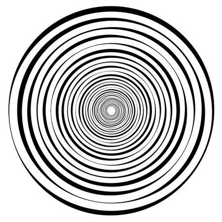 Abstract geometric spiral, ripple element with circular, concentric lines. Abstract monochrome element.