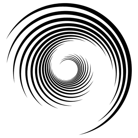 Abstract geometric spiral, ripple element with circular, concentric lines. Abstract monochrome element Vektoros illusztráció