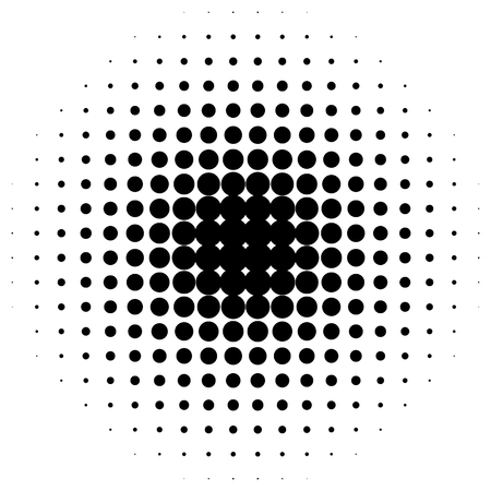 speckled: Circle halftone element. Monochrome dotted circular pattern.