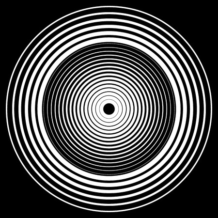 whirlpool: Concentric circles, concentric rings circular pattern. Abstract black and white geometric element