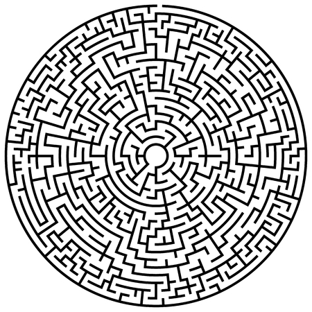 Solvable circular maze element isolated on white  イラスト・ベクター素材