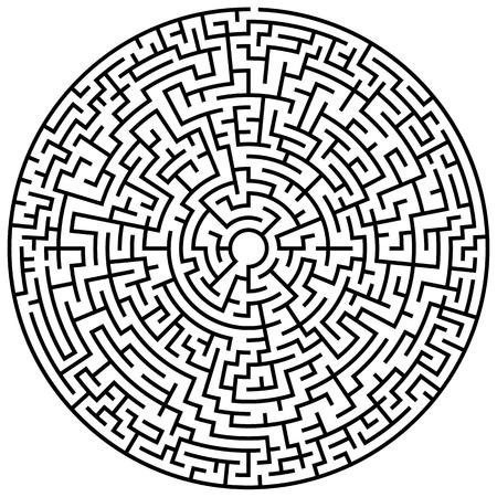 Elemento labirinto circolare solvabile isolato su bianco Vettoriali