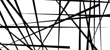 Lignes chaotiques aléatoires abstrait motif géométrique / texture. Illustration d'art moderne et contemporain Vecteurs