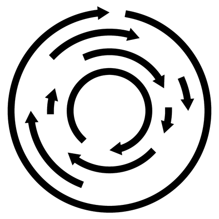 Circular concentric arrows. Cyclic, cycle arrows. Arrow element to illustrate Ripple, swirl, twirl concepts.