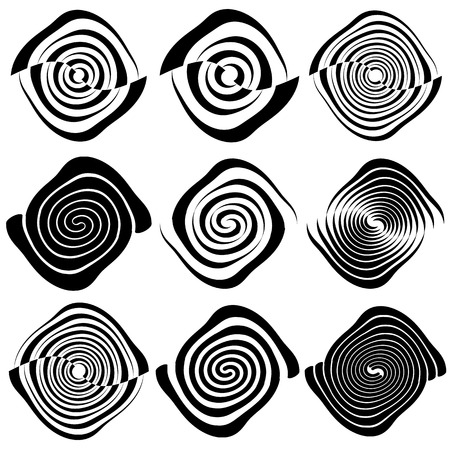 curl whirlpool: Circular concentric circles, rings.  Spiral, vortex, swirl design element set. Illustration