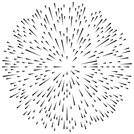 Conflux andom radial lines explosion effect. Radiating stripes circular pattern Illustration