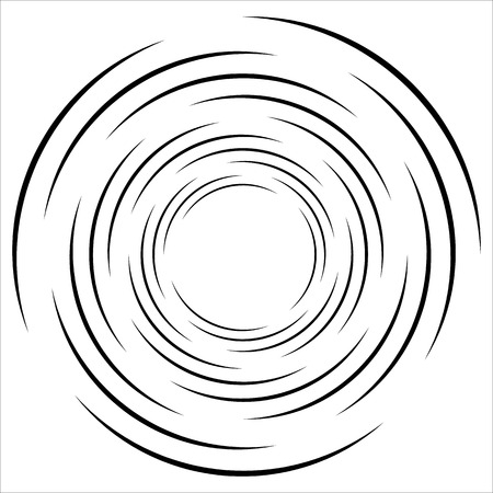 Abstract geometric spiral, ripple element with circular, concentric lines. Abstract monochrome element Illusztráció