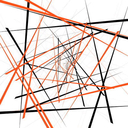 intersecting: Geometric illustration with random intersecting lines. Editable abstract art. Illustration
