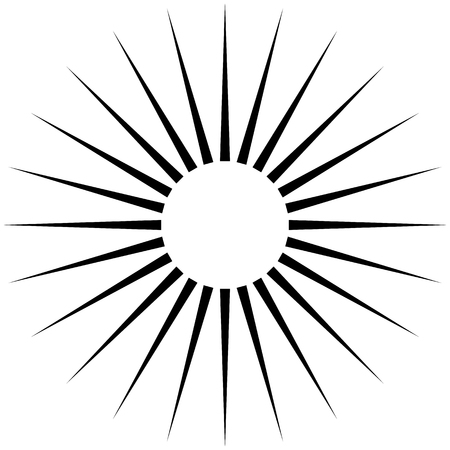 Radiating circular lines abstract monochrome symbol on white (Can be used as a symbol or background) Illustration