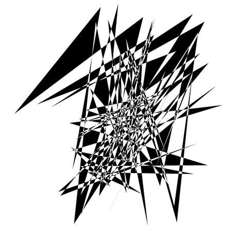 Random edgy abstract illustration with random scattered geometric shapes  lines. Black and white abstract illustration Illustration