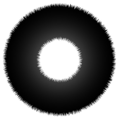 Rough grungy abstract circle element, circular distorted ring, donut shape Illustration