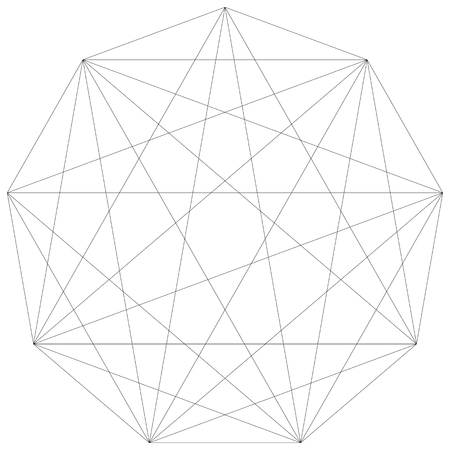 Segmented element with grid. Geometrical shape with network of lines. Lattice, grid, mesh inside of basic shape.