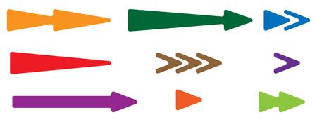 saltar: Arrowhead, pointer set. Arrow shapes, arrow elements. Flat arrow icons.