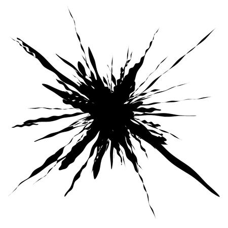 Splash, splatter shape isolated on white. Splattered fluid silhouette. Ink drop stain element Illustration