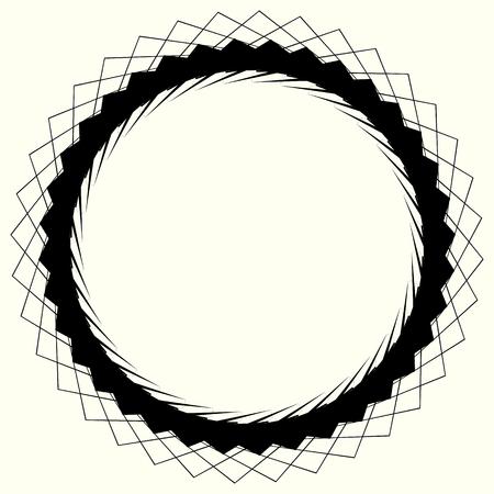 Geometric circle element, circle motif random edgy, angular lines. Suitable as concentric design element, abstract motif, circular non-figural element