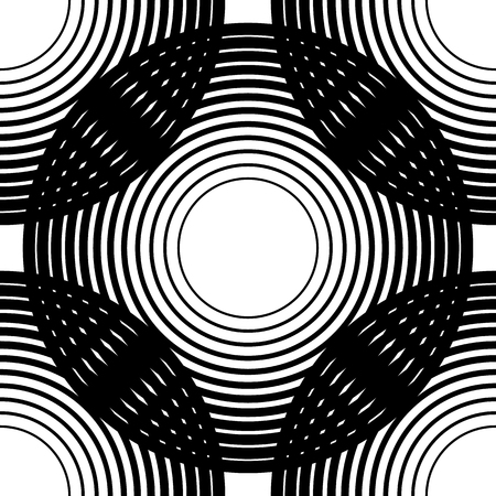 iterative: Circles seamless pattern. Background with grid, mesh of intersecting circles. Black white abstract regular texture with concentric circles, rings