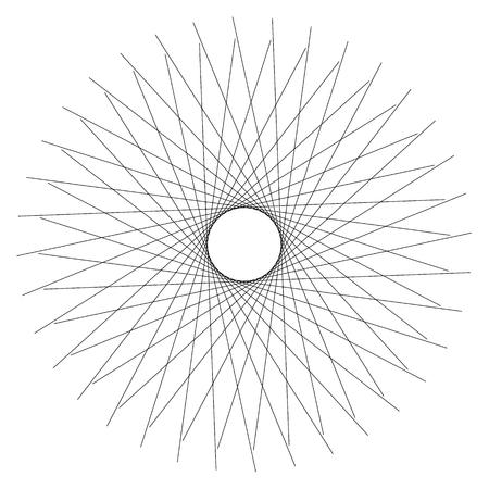 gyration: Abstract circular element. Radiating lines forming a geometric circle. Abstract spiral, swirl motif, mandala