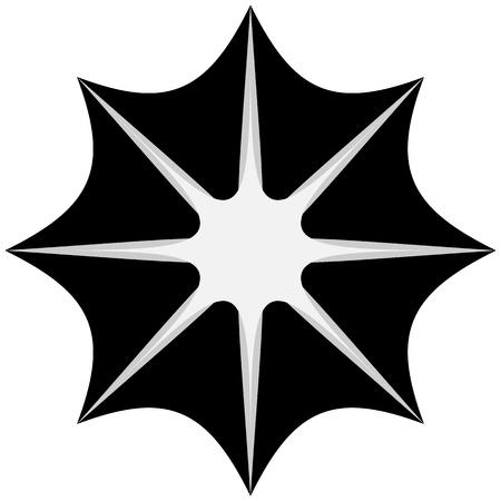 Starburst, sunburst or gleam, glitter shape, element silhouette