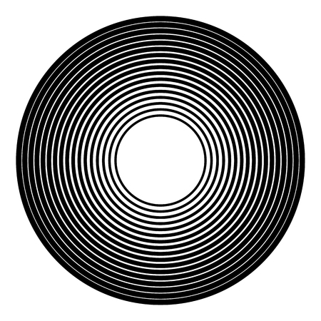 shockwave: Concentric circles geometric element. Radial, radiating circular graphic.