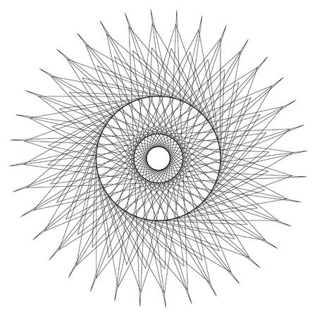 Abstract circular element. Radiating lines forming a geometric circle. Abstract spiral, swirl motif, mandala