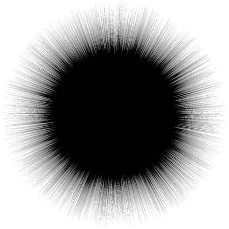 Abstract illustration with radial, radiating random lines. Irregular rays, beams. Abstract circular pattern. Geometric illustration