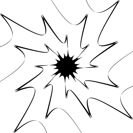 radial cracks: Rough, edgy texture of random distorted shapes). Black and white abstract geometric texture  pattern. Illustration