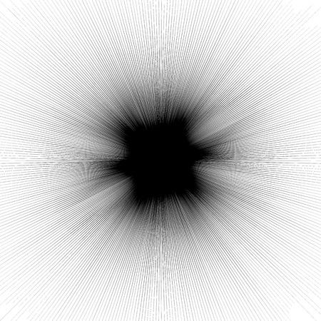 distortion: Abstract illustration with radial, radiating random lines. Irregular rays, beams. Abstract circular pattern. Geometric illustration